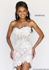 Sherri Hill Short 11054.  Available in Red/Nude, White/Nude
