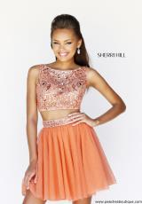 Sherri Hill Short 11061.  Available in Emerald, Green, Gunmetal, Light Blue, Navy, Nude, Orange