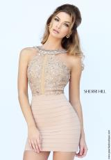 Sherri Hill Short 32228.  Available in Aqua, Black, Coral, Emerald, Nude, Red