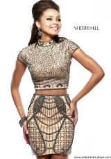 Sherri Hill Short 41004.  Available in Nude/Gunmetal, Nude/Navy, Purple/Gunmetal, Royal/Gunmetal