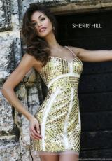 Sherri Hill Short 9726.  Available in Black/Gold, Emerald, Gunmetal, Ivory/Gold