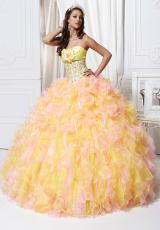 Tiffany Quinceanera 26709.  Available in Fuchsia/Orange, White/White, Yellow/Pink