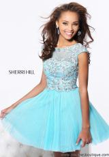 Sherri Hill Short 21032.  Available in Aqua/Light Green, Blush, Coral/Gold, Ivory/Gold, Light Blue/Silver, Lilac/Silver, Pink/Silver, Turquoise/Gold