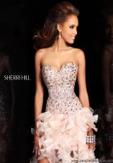 Sherri Hill 21050.  Available in Aqua, Black/Multi, Coral, Fuchsia, Nude