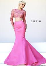 Sherri Hill 32009.  Available in Coral/Nude, Gunmetal/Nude
