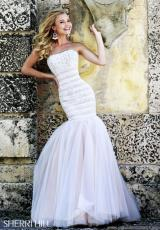 Sherri Hill 11154.  Available in Black/Nude, White/Nude, White/Pink
