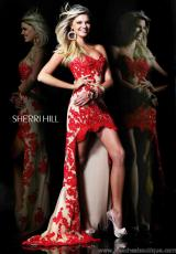 Sherri Hill 21016.  Available in Aqua/Nude, Black/Nude, Coral/Nude, Hot Pink/Nude, Ivory/Nude, Orange/Nude, Red/Nude