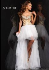 Sherri Hill 21168.  Available in Aqua/Gold, Light Blue/Silver, Nude/Silver, Pink/Gold, Strawberry/Gold, White/Gold