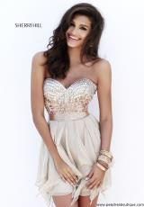 Sherri Hill Short 1934.  Available in Black, Black/White, Blush, Jade, Nude, Periwinkle, Pink, Royal, Ruby, Teal