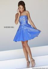 Sherri Hill Short 21362.  Available in Black/Emerald, Coral, Ivory/Gold, Periwinkle, Red, Silver, Teal
