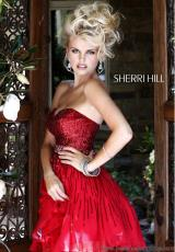 Sherri Hill Short 8528.  Available in Ivory, Peacock, Red