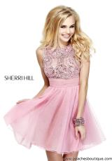 Sherri Hill Short 11032.  Available in Green, Light Blue, Nude, Orchid, Pink