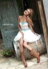 Sherri Hill Short 11216.  Available in Ivory/Aqua