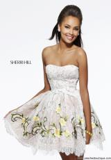 Sherri Hill Short 21320.  Available in Ivory/Fuchsia, Ivory/Lilac, Ivory/Peach, Ivory/Yellow