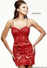 Sherri Hill Short 41001.  Available in Gold, Ivory, Navy, Red, Silver