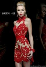 Sherri Hill Short 21213.  Available in Black/Nude, Ivory/Nude, Red/Nude
