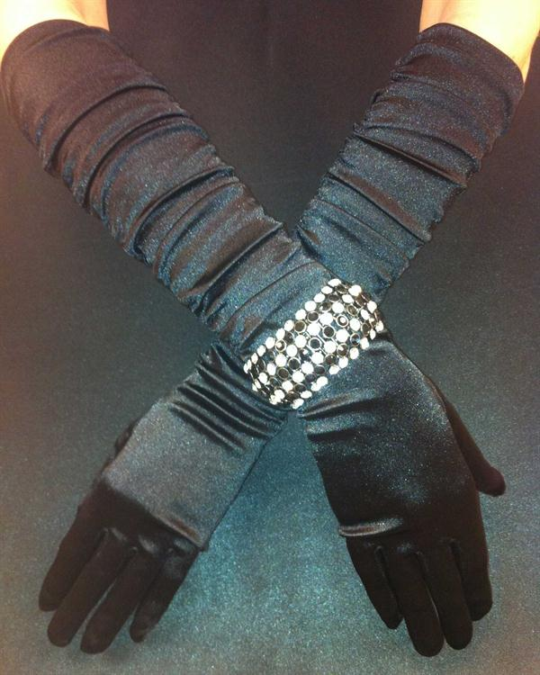 Black Scrunchy Elegant Prom Gloves