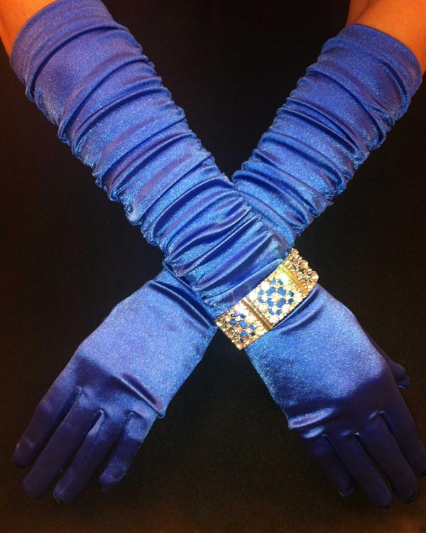 Royal Blue Scrunchy Long Gloves