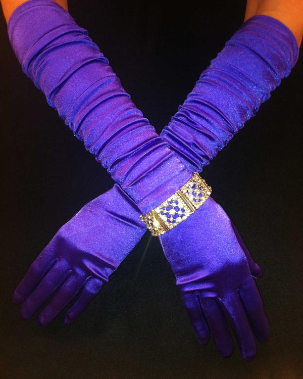 Purple Scrunchy Long Vivid Gloves