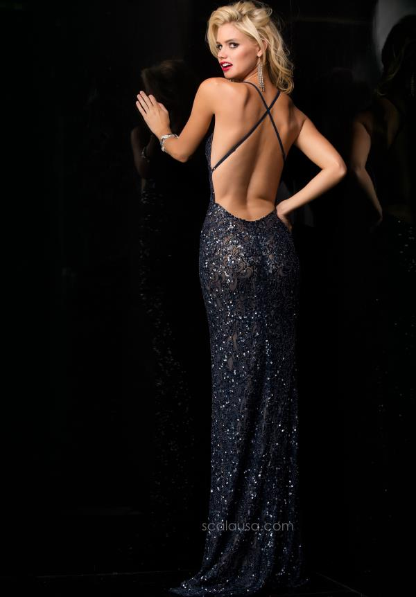 Open Back V-Neck Scala Prom Dress 47542