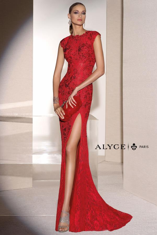 Alyce Paris High Neckline Long Dress 5677