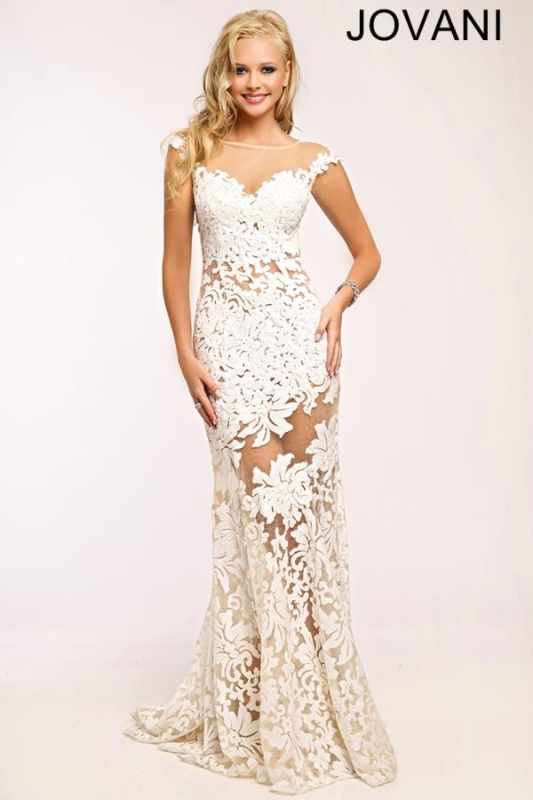 Jovani Fitted Lace Prom  Dress 21226