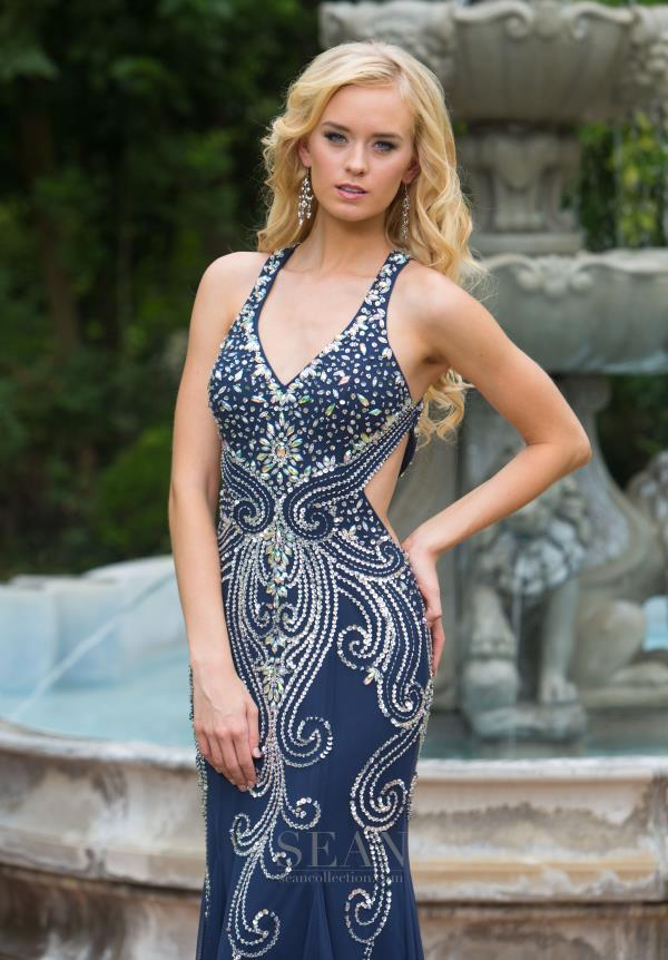 Sean Sexy Navy Cut Out Dress 50708