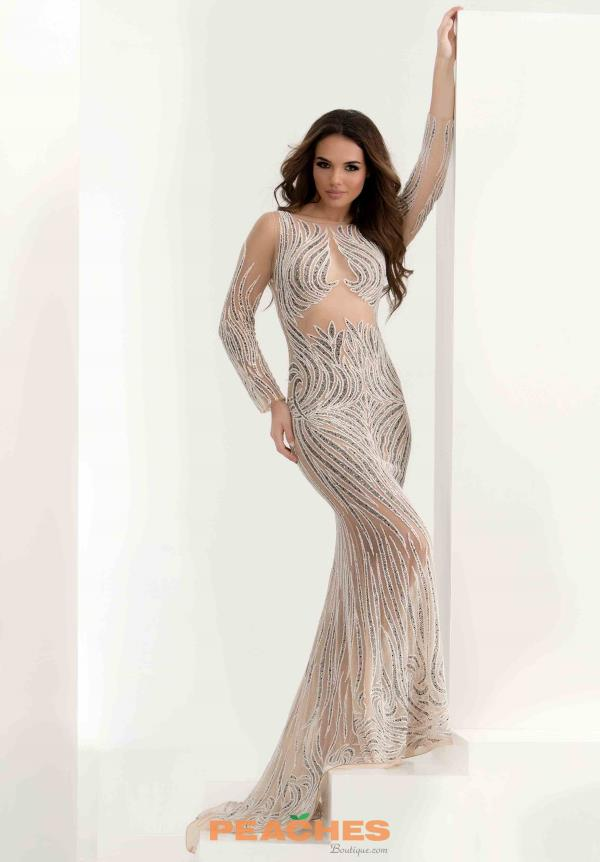 Jasz Couture Long Sleeved Beaded Dress 5569