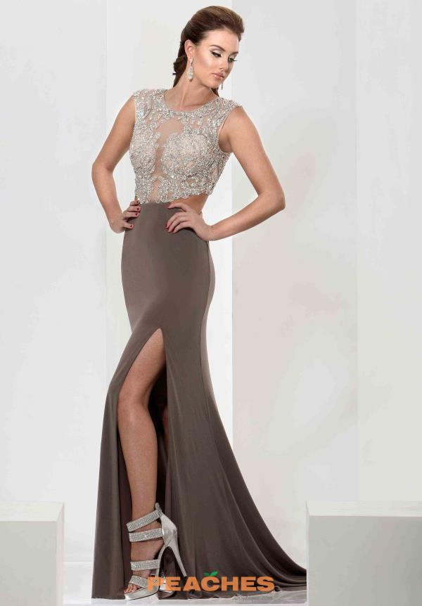 Jasz Couture Mocha Beaded Dress 5641