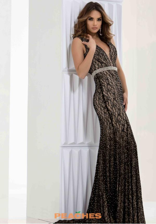 Jasz Couture V- Neckline Lace Dress 5643