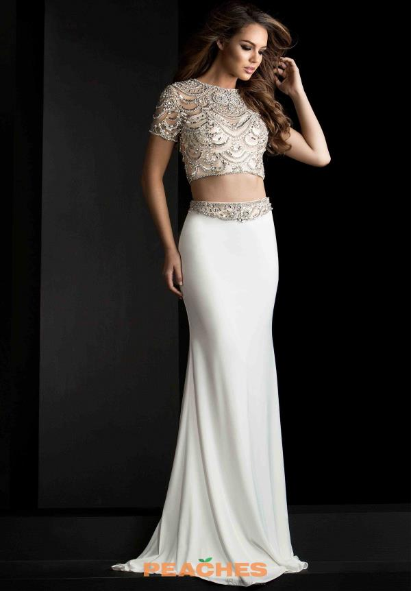 Jasz Couture Sleeved Beaded Dress 5650