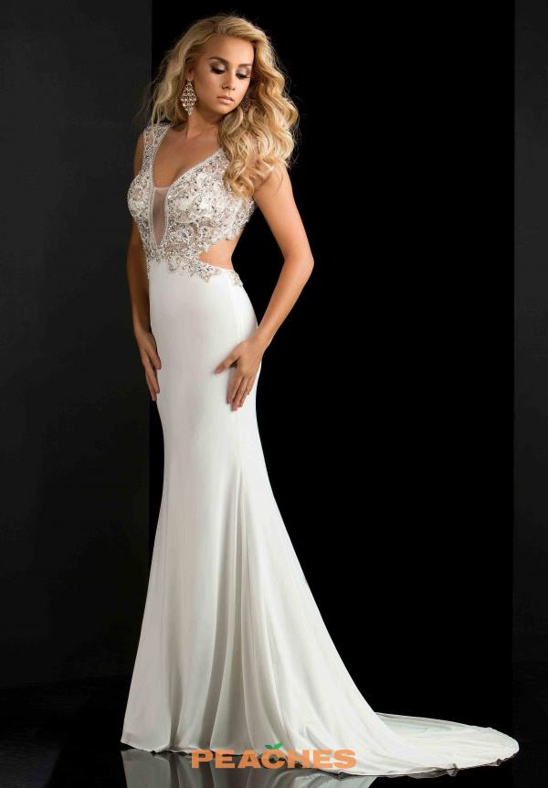 Jasz Couture White Jersey Dress 5678
