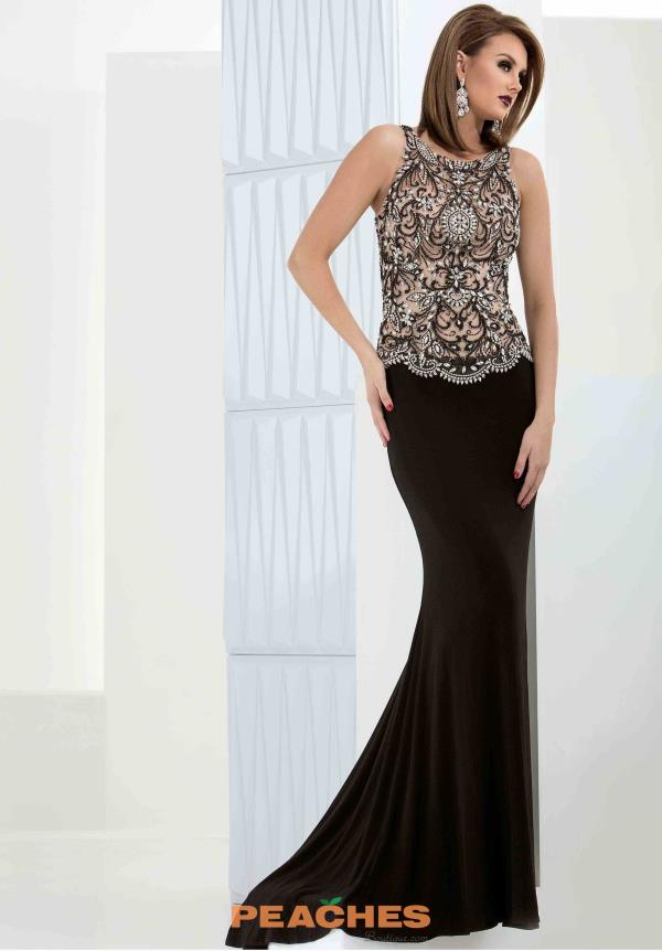 Jasz Couture Beaded Sheer Back Dress 5690