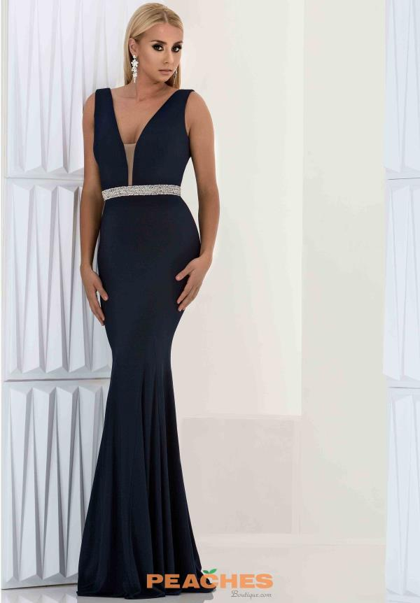 Jasz Couture Long Fitted Jersey Dress 5707