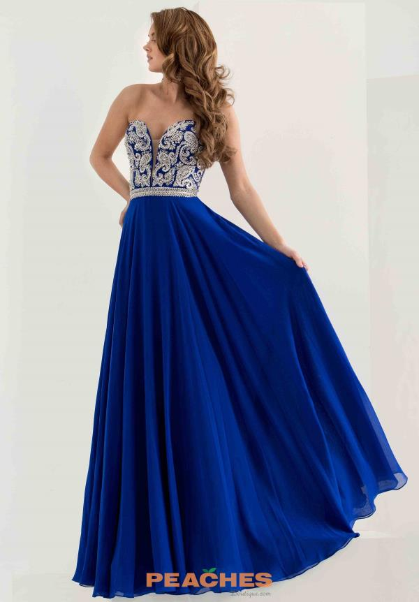 Strapless Beaded Jasz Couture Blue Dress 5748