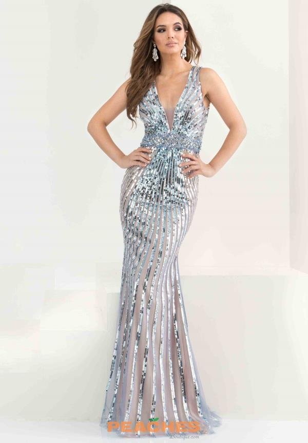 Jasz Couture Silver Fitted Dress 5775