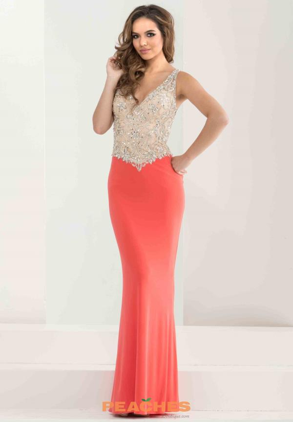 Two Straps Beaded Jasz Couture Dress 5814