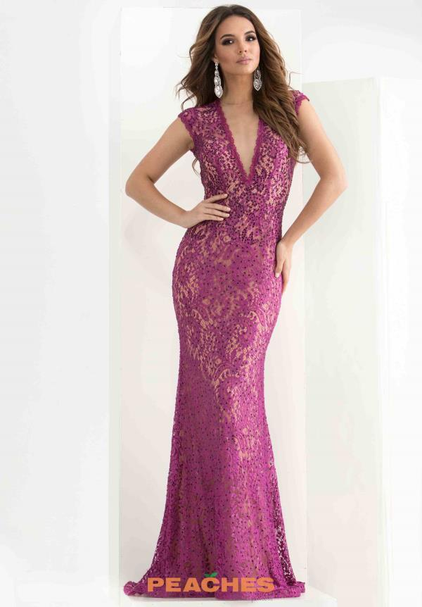 Jasz Couture V- Neckline Long Dress 5816