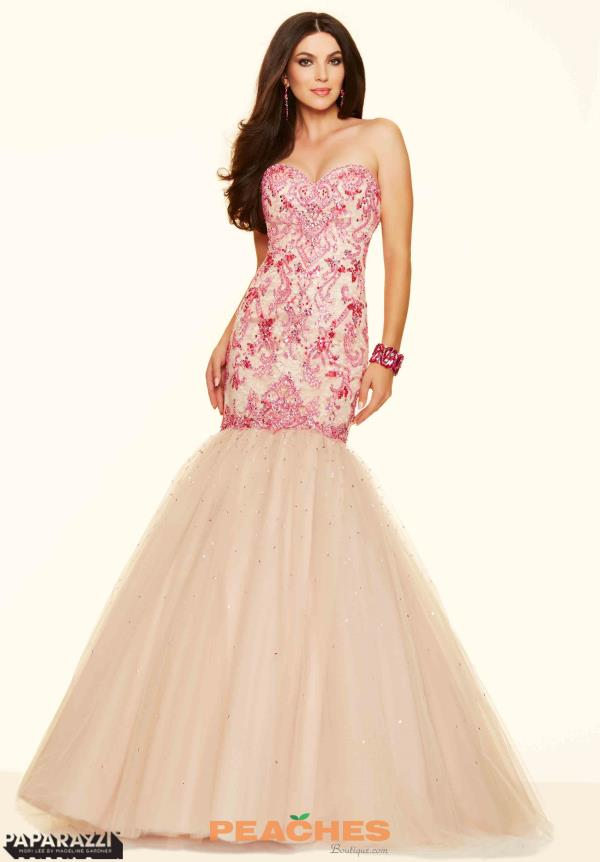 Mori Lee Lace Back Fitted Nude Dress 98019