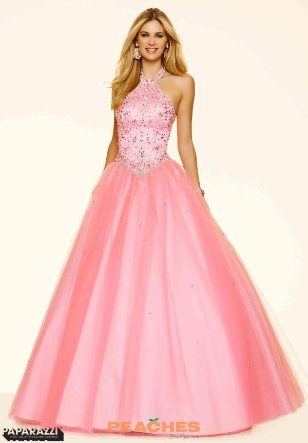 Mori Lee Halter Top Ball Gown Dress 98065