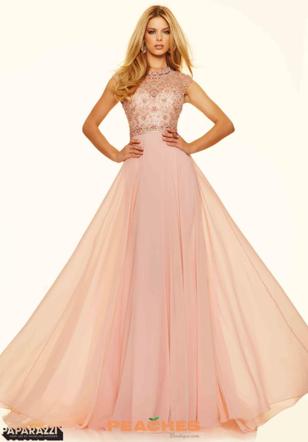 Mori Lee Long A Line Pink Dress 98099