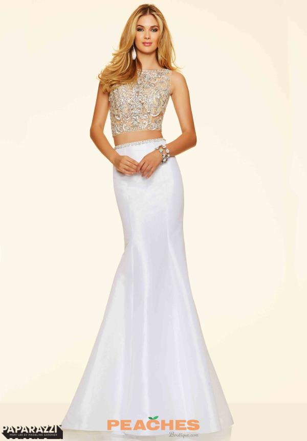 Mori Lee Fitted White Tafetta Dress 98113
