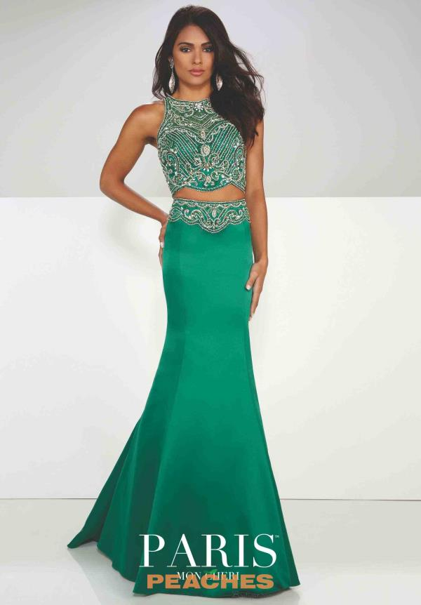 Paris Crop Top Fitted Green Dress 116754