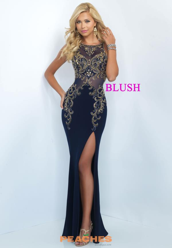 Sexy Navy Beaded Blush Dress 11038