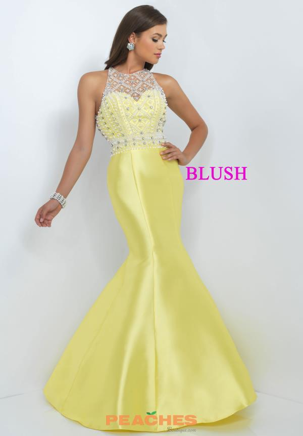 Blush Fit and Flare Beaded Yellow Dress 11092