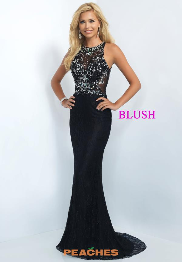Blush Fit and Flare Beaded Evening Gown 11111