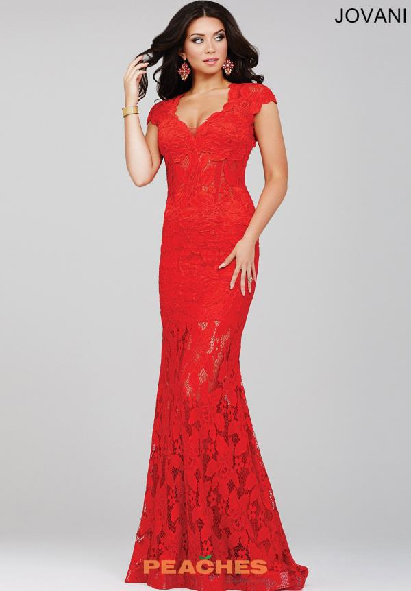 Lace Formal Jovani Red Dress 26961