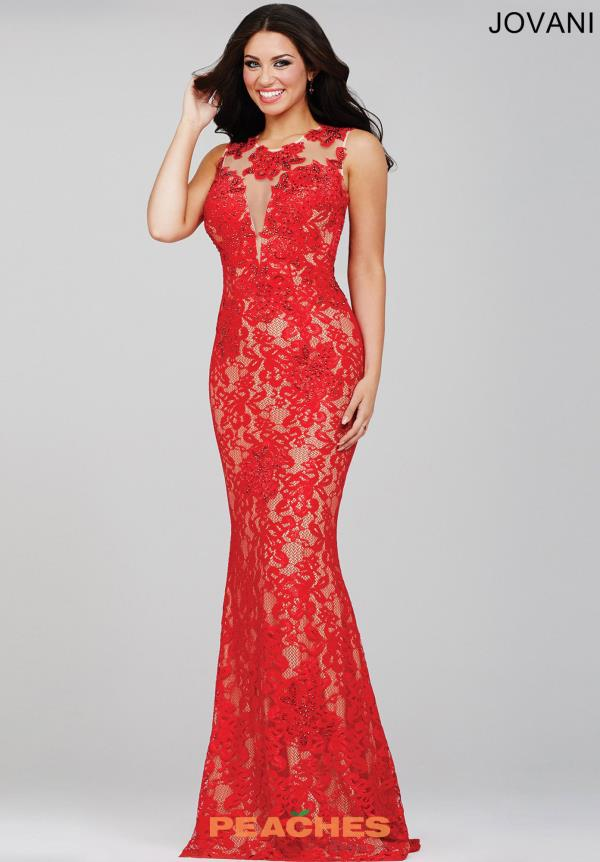 Jovani Red Lace Fitted Open Back Dress 27305