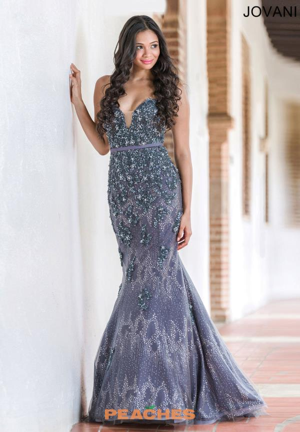Strapless Fitted Navy Jovani Dress 29140