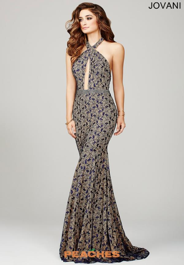 Halter Top Fitted Navy Jovani Dress 32457